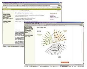 Exemples d'écrans du site web de la campagne, montrant l'outil