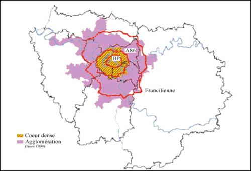Figure 5 - Cœur dense et agglomération parisienne (source PRQA)
