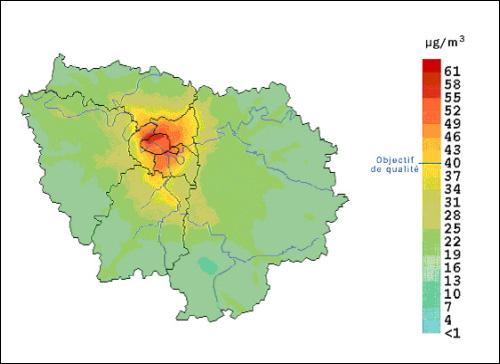 Figure 6 - Moyennes annuelles de dioxyde d'azote en Île-de-France en 1999 (source : Aiparif)