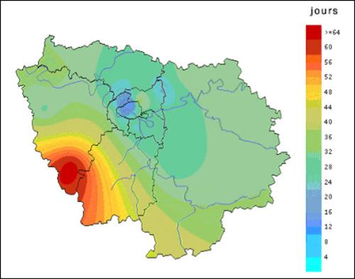Figure 7 - Nombre de jours de dépassement de l'objectif de qualité de l'air en ozone en Île-de-France - été 1999 (source : Airparif)