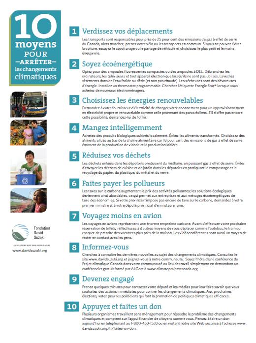 Fondation David Suzuki - 10 moyens pour arrêter les changements climatiques