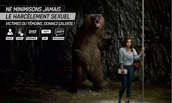 Visuel campagne contre le harcèlement - IDF Mobilités - Ours