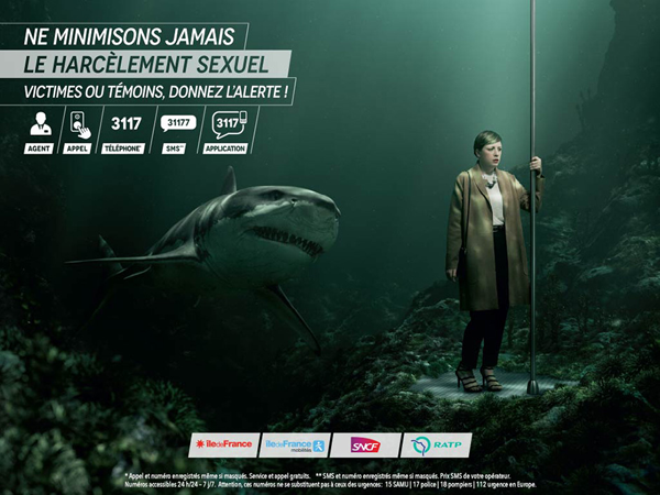 Visuel campagne contre le harcèlement - IDF Mobilités - Requin
